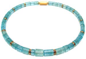 Collier 750 Gold und Aquamarinkristalle