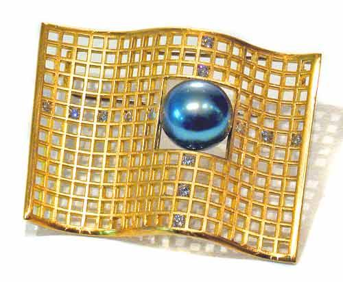 Brosche Gold 750 mit Tahitiperle und Brillanten