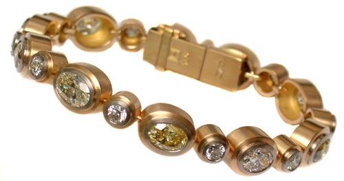 Armband Gold 750 mit farbigen Diamanten und Brillanten