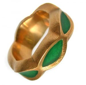 Ring 750 Gold mit Email cloisonné