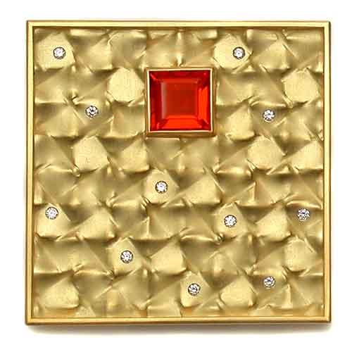 Brosche Gold 750 mit Feueropal und Brillanten