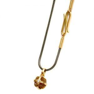 Collier aus Gold 750 und Silber 925 mit Rohdiamant und Brillant