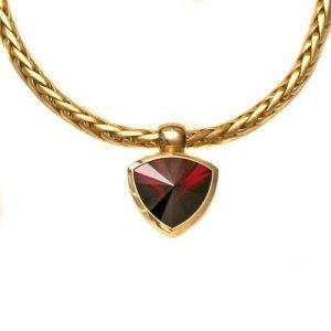 Collier 750 Gold mit Rhodolith