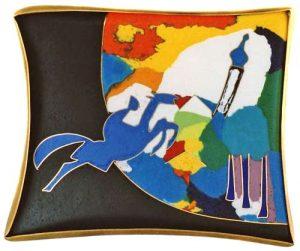 """Brosche """"Der blaue Reiter"""", Gold 750, Silber 925 und Email cloisonné"""