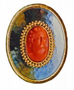 Brosche Gold 750 Silber 925 und Korallkamee