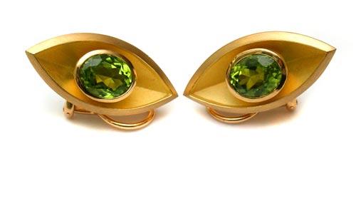 Ohrclips Gold 750 und Peridot