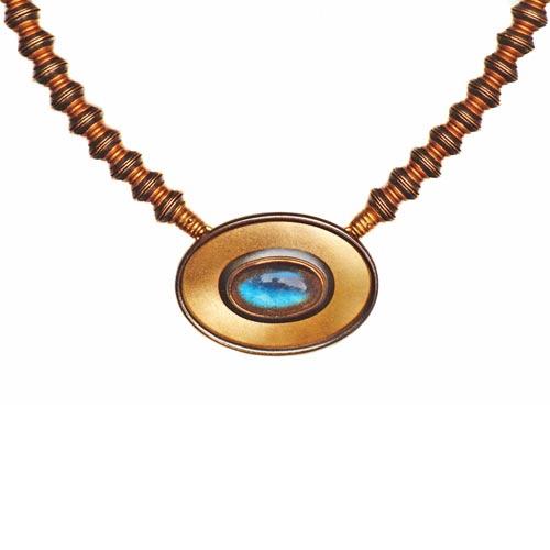 Collier 750 Gold, 925 Silber und Labradorith