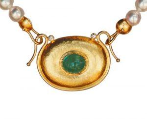 Perlcollier mit Smaragd-Mittelteil in Gold 750