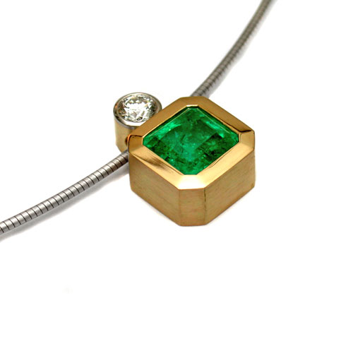 Collier 750 Gold mit Smaragd