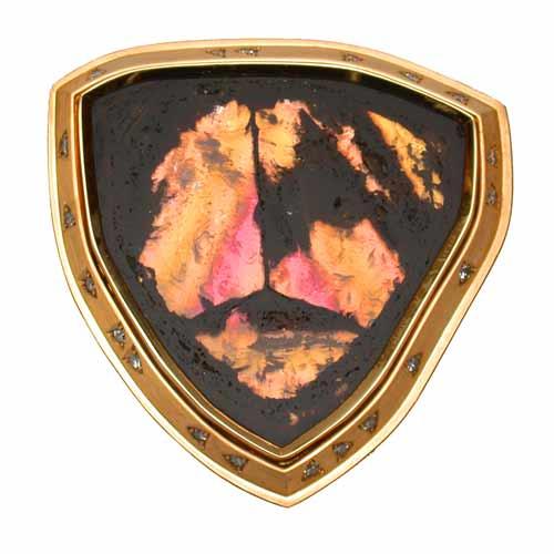 Brosche Gold 750 mit Turmalin und Brillanten