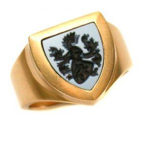 Wappenring Gold 750 mit Lagenstein
