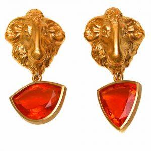 Ohrclips Gold 750 und Feueropal