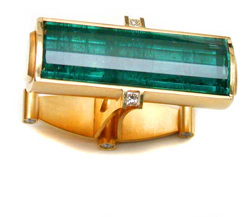 Zweifingerring 750 Gold mit Turmalin und Diamanten